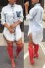 Stylish Turndown Collar Single-breasted Asymmetrical Blue A Line Mini Demin Dress