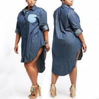 Brytcouture Turndown Collar Long Sleeves Blue Denim A Line Mini Women Dress