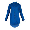 BrytCouture Turndown Collar Half Sleeves Solid Blue Blending Blouse