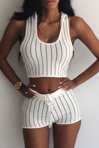BrytCouture Striped Sleeveless White Blending Two-piece Outfits