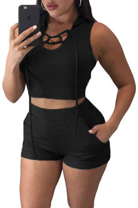 BrytCouture Stylish Hooded Sleeveless Lace-up Polyester Two-piece Shorts Set - Black