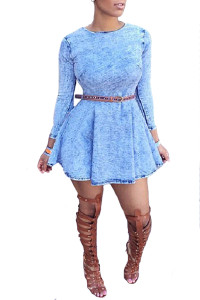 Stylish Round Neck Long Sleeves Blue Blending Mini Women Dress (Without Belt)
