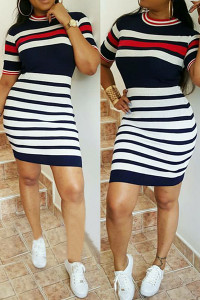 Round Neck Short Sleeves Striped Printed Qmilch Mini Sheath Dress