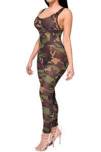 U-shaped Neck Backless Printed Camouflage  One-piece Skinny Jumpsuits