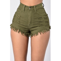 BrytCouture Stylish High Waist Broken Holes Army Green Denim Shorts
