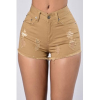 BrytCouture Stylish High Waist Broken Holes Khaki Denim Skinny Shorts