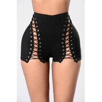BrytCouture Sexy High Waist Hollow-out Black Polyester Skinny Shorts