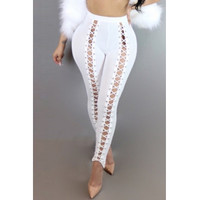 BrytCouture Stylish High Waist Hollow-out White Polyester Leggings