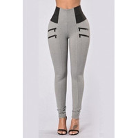 BrytCouture Casual High Waist Patchwork Grey Cotton Skinny Pants