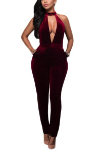 BrytCouture Limited Edition Velvet Solid Skinny Jumpsuits