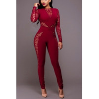 BrytCouture Sleeves Patchwork See-Through Wine Red One-piece Skinny Jumpsuits