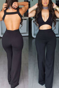 BrytCouture V Neck Backless Black One-piece Skinny Jumpsuit