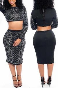 BrytCouture Sexy Long Sleeves Zipper Design Black Two-piece Skirt Set