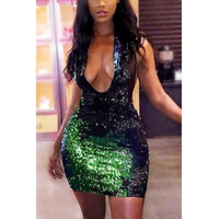 Sexy Deep V Neck Sleeveless Green Sequined Sheath Mini Dress