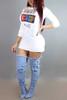 BrytCouture Casual Round Neck Three Quarter Sleeves White Cotton Mini Dress