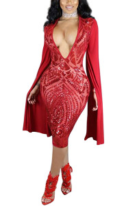 Sexy Deep V Neck Long Sleeves Red Polyester Sheath Knee Length Dress