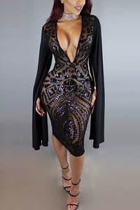 Sexy Deep V Neck Long Sleeves Black Polyester Sheath Knee Length Dress
