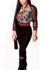 Trendy Mandarin Collar Gauze Patchwork Black Qmilch Two-piece Set