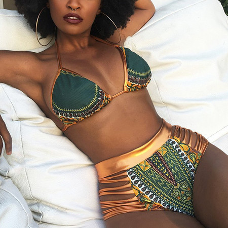BrytCouture Polyester Print Bikinis - Green