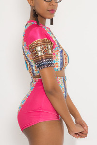 Ethnic Style Round Neck Totem Print Pink Polyester Two-piece Swimwear