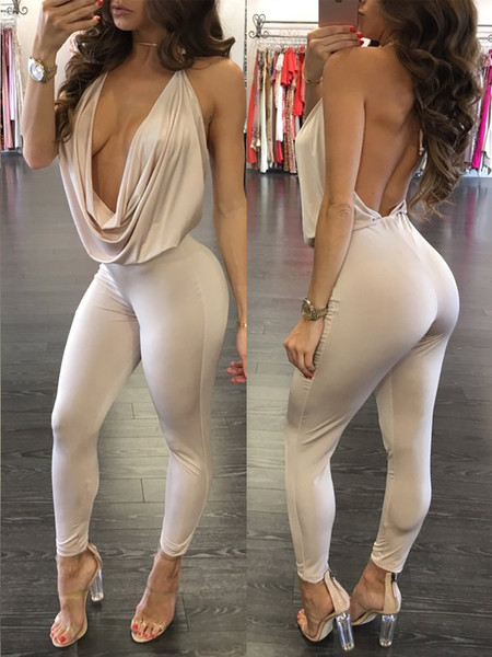 Sexy V Neck Spaghetti Strap Sleeveless Backless Khaki Qmilch One-piece Skinny Jumpsuit