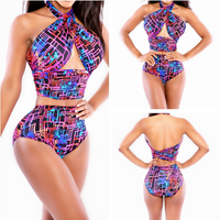 Twisted Colorful High Waist Bikini Swimwear