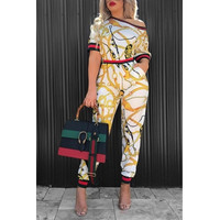 BrytCouture Fashion Round Neck Printed Patchwork White Cotton Two-piece Pants Set