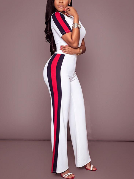 BrytCouture Stylish Two-piece Polyester Patchwork Pants Set - White