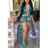 BrytCouture Half Sleeves Floral Print Qmilch One-piece Skinny Jumpsuit