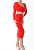 Women's Scoop Neck Long Sleeve Crop Top and Skirt Suit