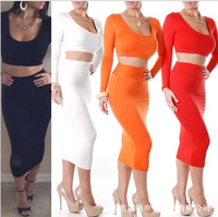 Women's Scoop Neck Long Sleeve Crop Top and Skirt Suit