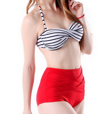 2 Piece High Waist Red With Stripe Swimsuit