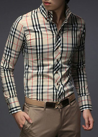 Modern Plaid Design Long Sleeve Men Shirt