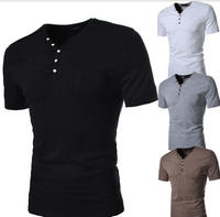 Simple Men Essential Button Decorated T Shirts