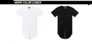 Men Hip Hop Extended Tee Shirt With Zipper White and white