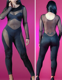 Women See Through Mesh Bodysuit