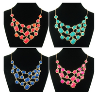 Solid Color Beaded Collar Gold Plated Necklace