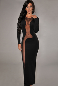 Black Daring Mesh Accents Long Sleeves Evening Maxi Dress