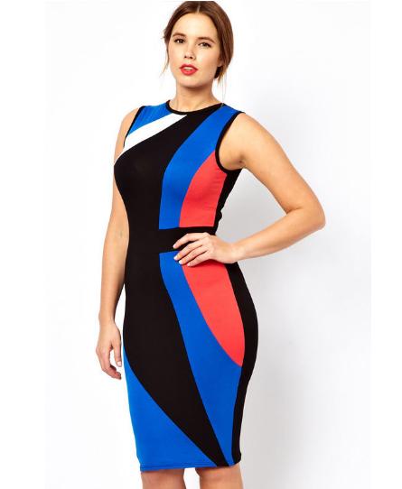 Color Block Dresses Plus Size Color Block Midi Bodycon Plus