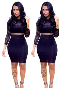 Lady Guaze Striped 2 Piece Bodycon Dress 5871