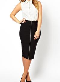 Plus Size Front Zip Decoration Pencil Skirt