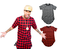 Hip Hop Plaid Streetwear Men Side Zipper T-Shirt