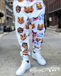 Emoji Sweatpant Joggers - White