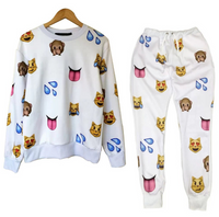 Unisex Emoji Sweatpants Joggers and Sweater White - Set