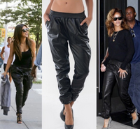 Celebrity PU Leather Track Pant - Black
