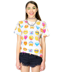 White Emoji Short Sleeves T-Shirt