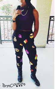 Women Emoji Sweatpant Joggers Black and White  emoticon joggers
