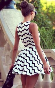 White and Black Stripes Chevron Women Dress