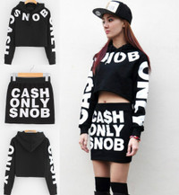 CASH ONLY SNOB Women's Crop Hoodie and Skirt - Set