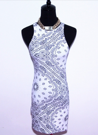 Limited Edition Monochrome Paisley Bandana Tank Dress - White